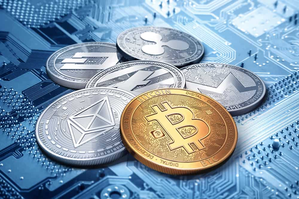 A stack of cryptocurrencies. Source: Shutterstock.com