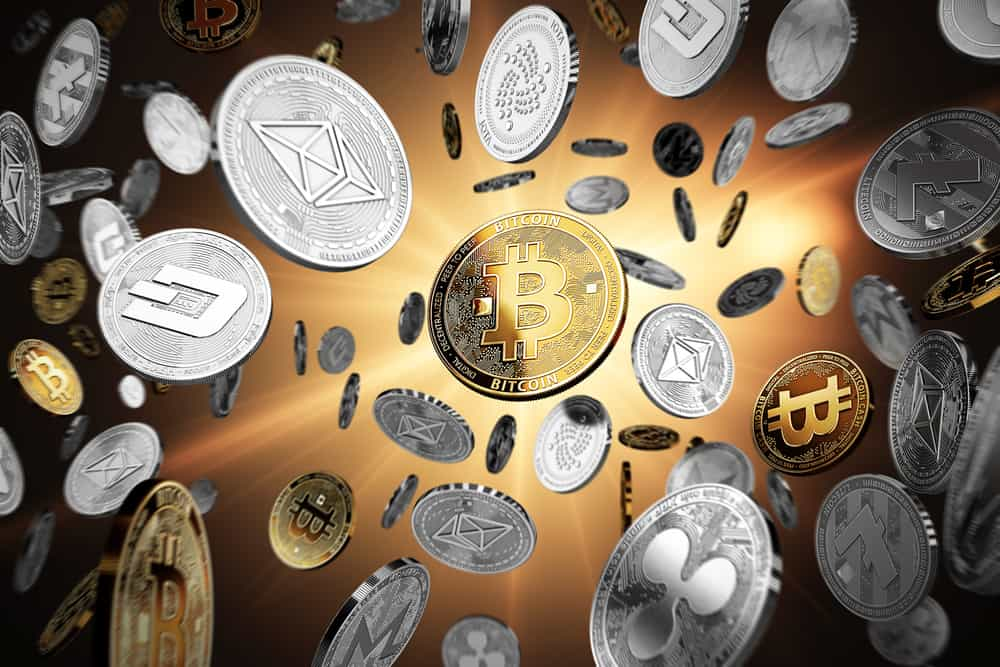 Flying Altcoin with Bitcoin at the center. Source: Shutterstock.