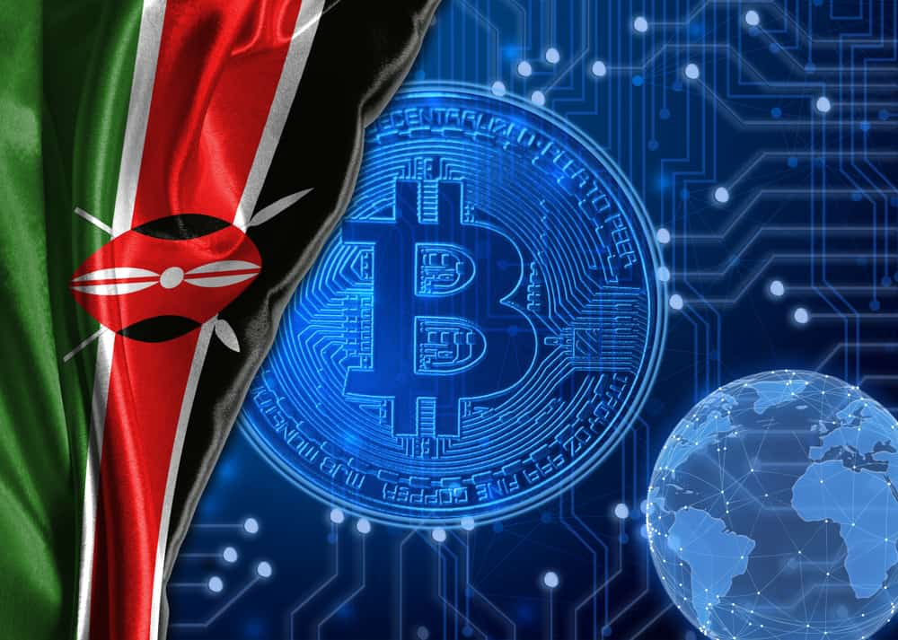 Kenyan flag with Bitcoin and blockchain concept