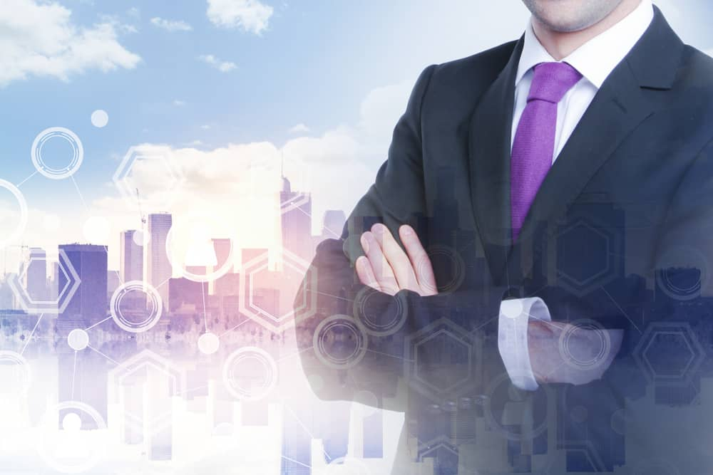 Businessman and blockchain concept