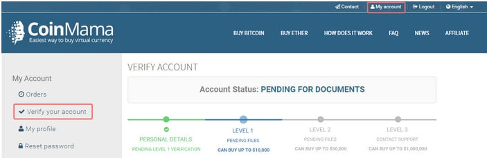 Verify Coinmama Account