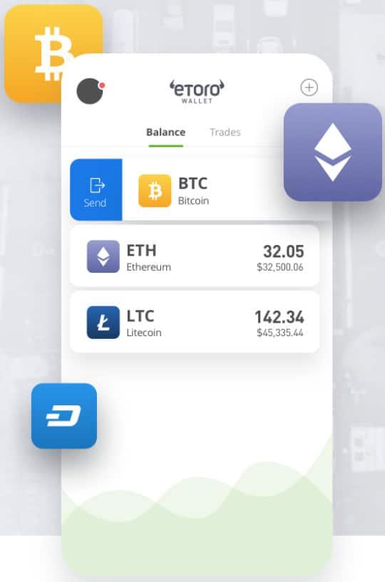 eToro mobile crypto wallet