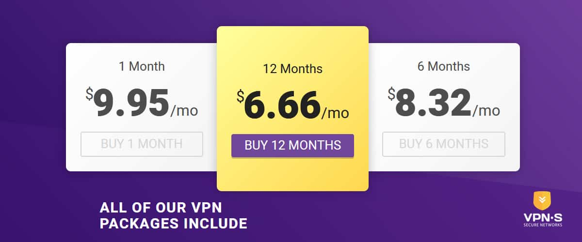 Pricing - Source: Vpnsecure.me
