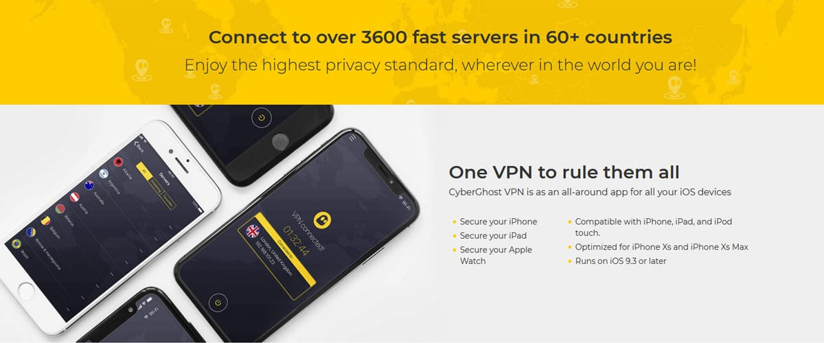 Connect to over 3600 fast servers in 60+ countries