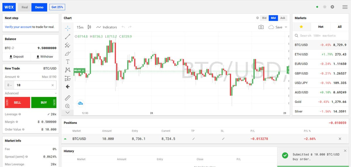 A simple and intuitive interface makes trading easy on WCX.