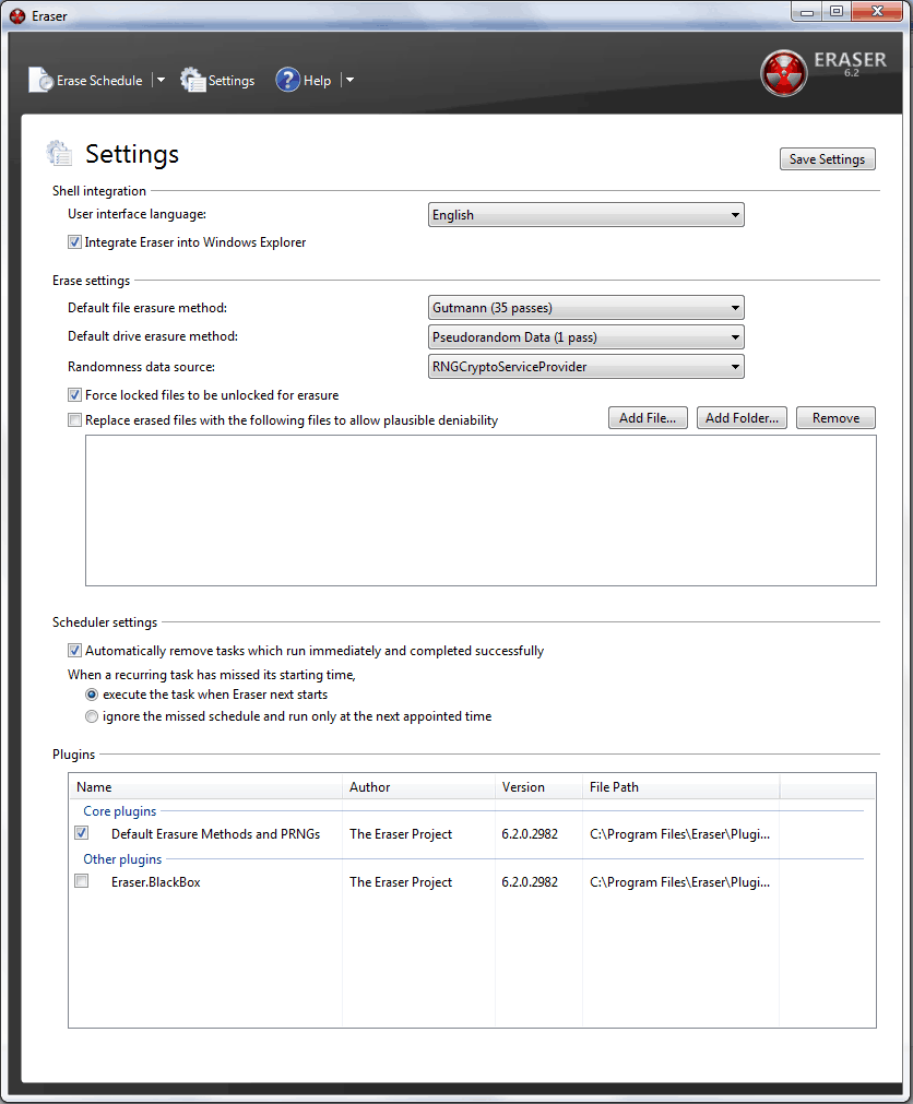 Available Eraser Settings