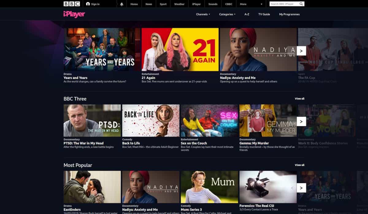BBC iPlayer Homepage