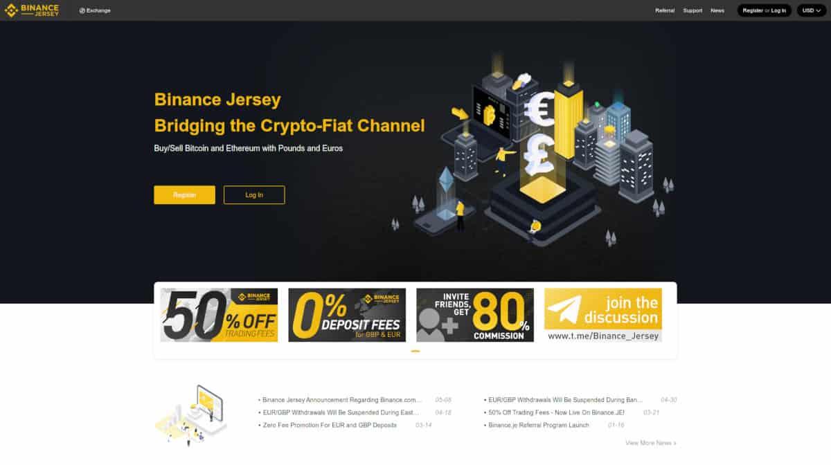 Binance jersey crypto exchange homepage