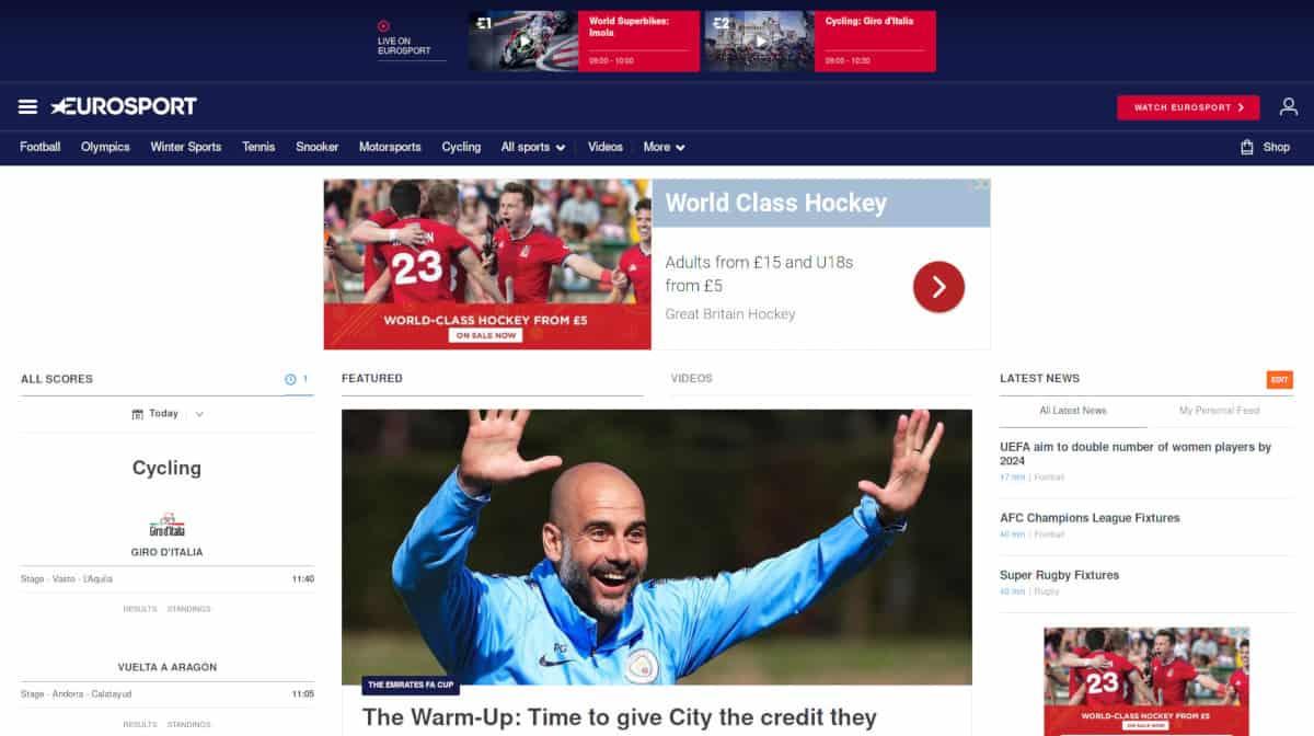 Eurosport UK Homepage