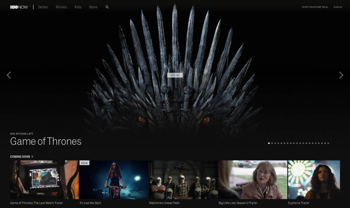 HBO Now Homepage
