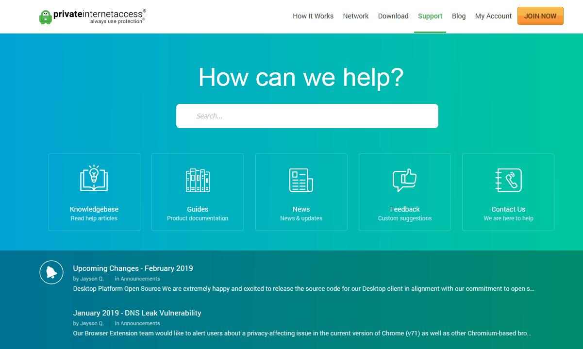 Customer Support - Source: www.privateinternetaccess.com