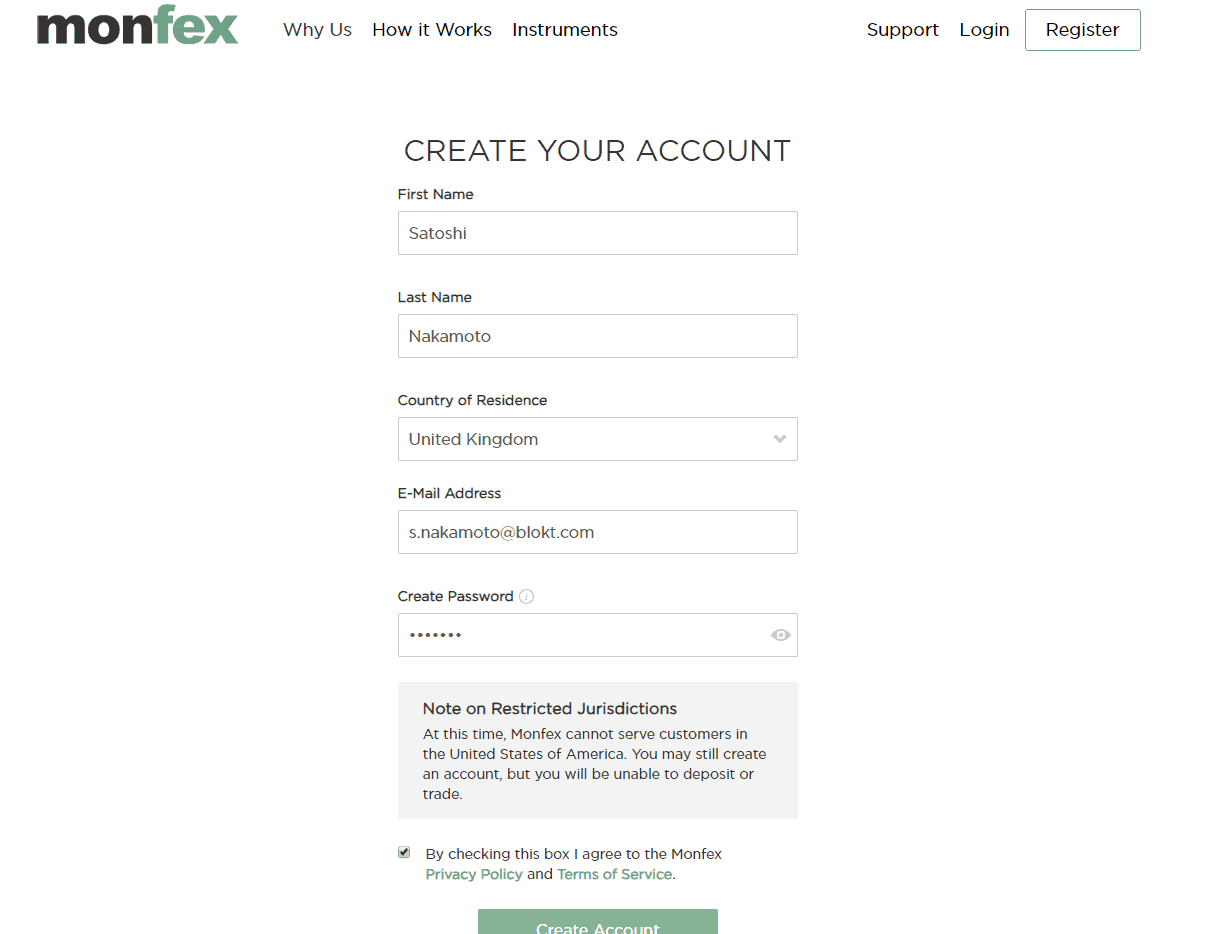 The signup process is very simple on Monfex's platform