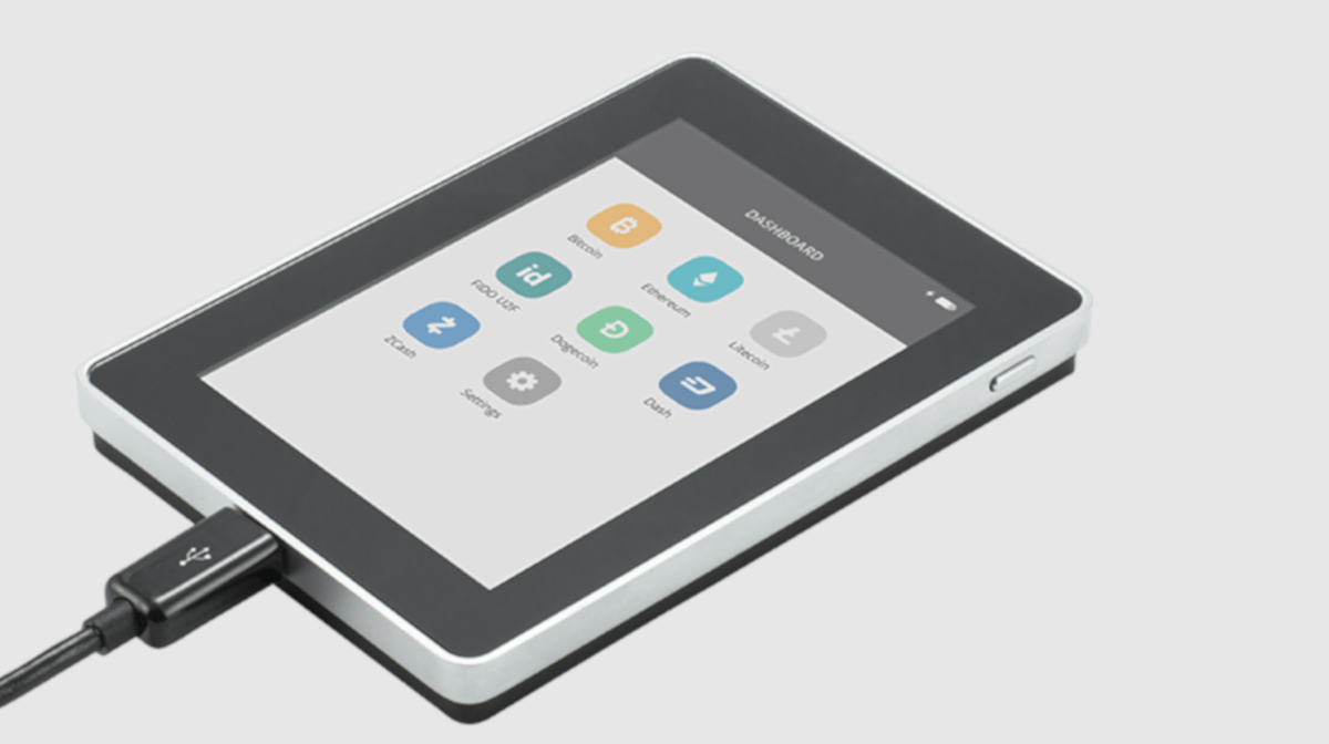 The Ledger Blue's large touch screen makes transactions simple